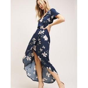 Dynamite Wrap Maxi Dress Navy with White Floral